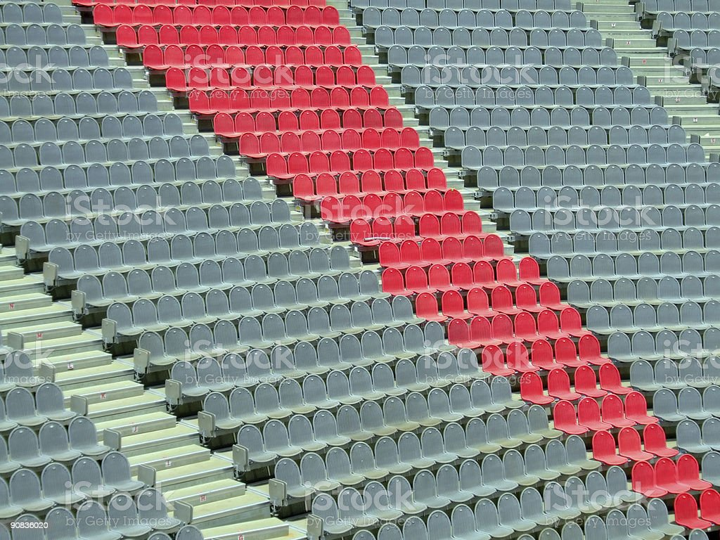 Arena Seats with central Red Sector royalty-free stock photo