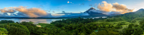 Arenal Volcano and Lake Arenal stock photo