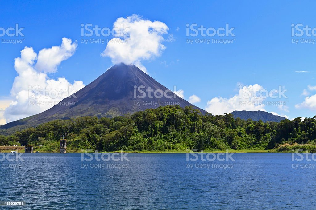 Arenal Volcano and Lake stock photo