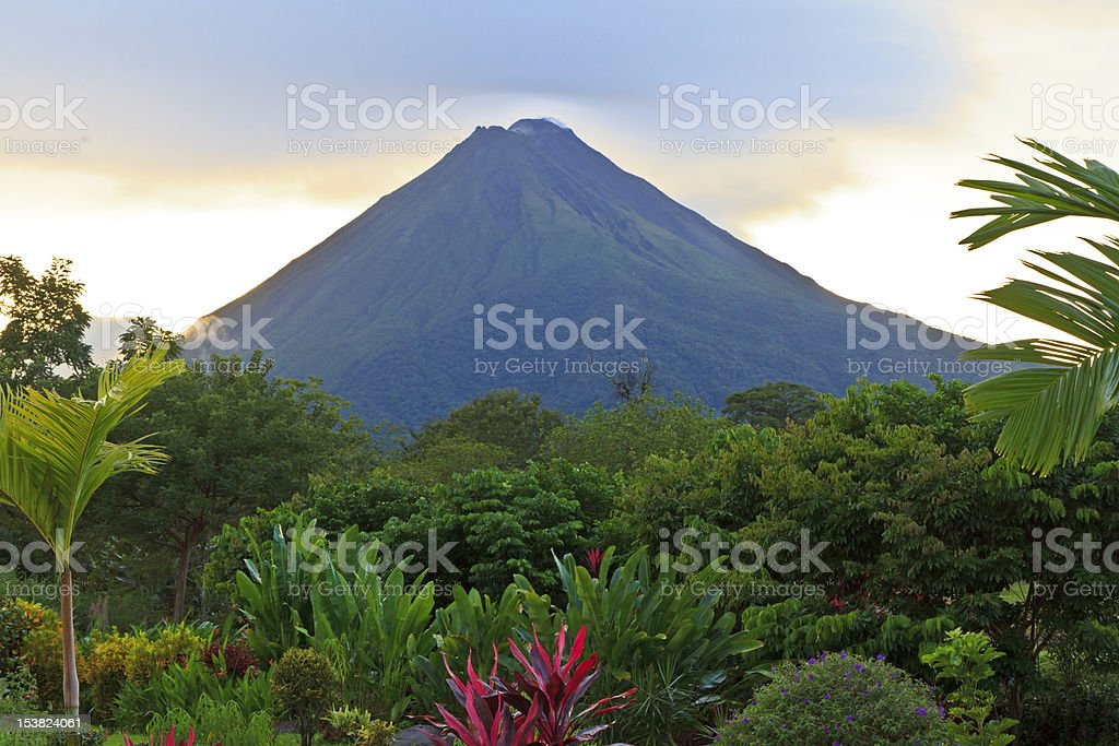 Arenal Volcano at Dusk stock photo