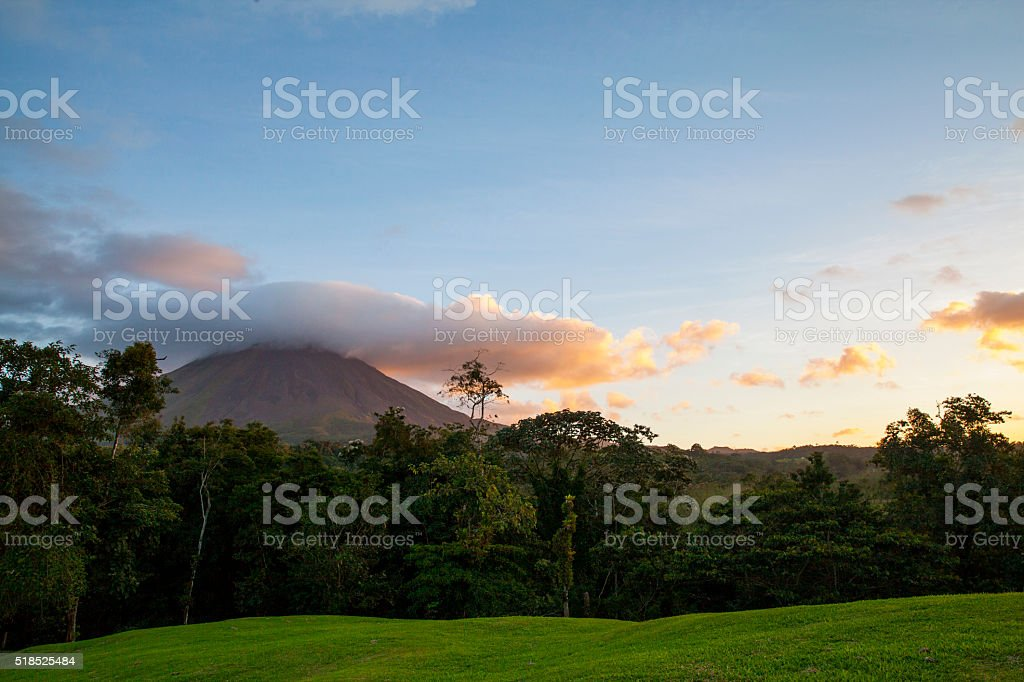 Arenal Volcano at Sunset stock photo
