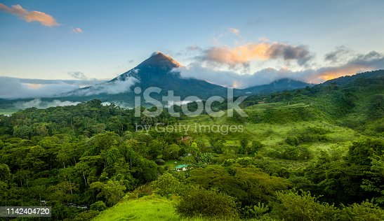 Scenic view of Arenal Volcano in central Costa Rica at sunrise