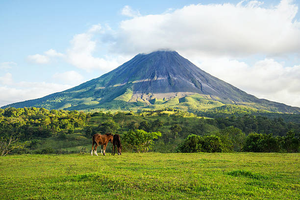Arenal volcano. Costa Rica. Arenal volcano landscape in a sunny day. arenal volcano stock pictures, royalty-free photos & images