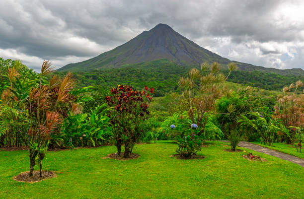 Arenal Volcano with Garden, Costa Rica The majestic Arenal volcano with a dramatic sky and an ornamental garden, La Fortuna, Costa Rica, Central America. arenal volcano stock pictures, royalty-free photos & images