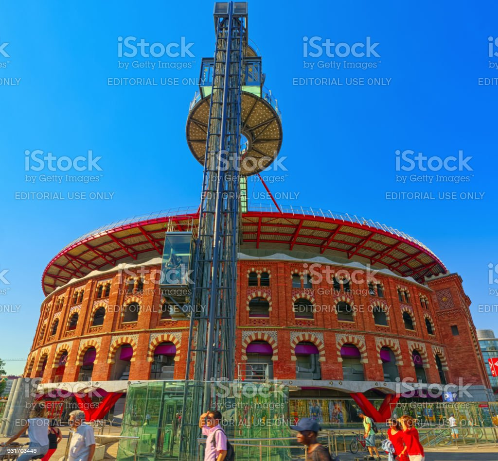 PURA BRASA Arenas de Barcelona with shopping centers, shops, and cafes and restaurants. stock photo