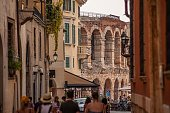 Verona, Italy 23 September 2020:  Detail of Arena di Verona, the most famous ancient building in the city