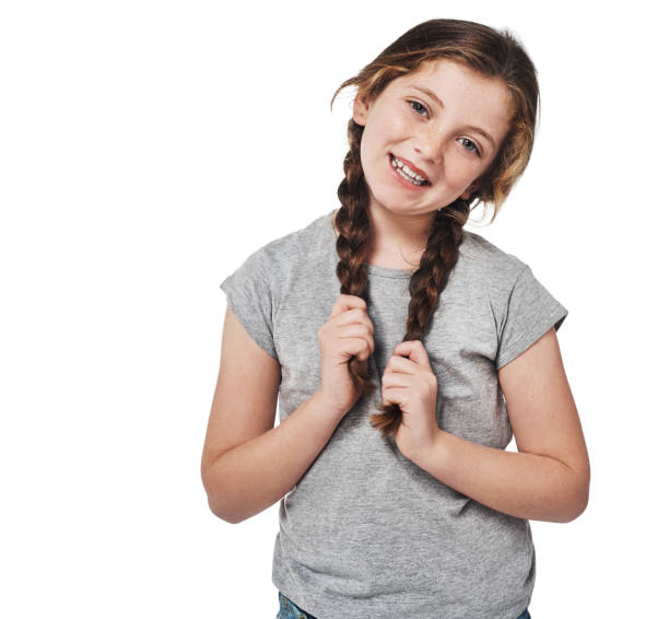 aren't i just the cutest? - pigtails stock photos and pictures