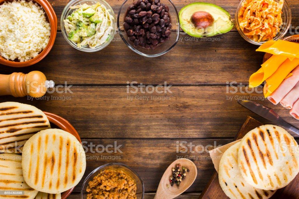 Arepas , Latin American food stock photo