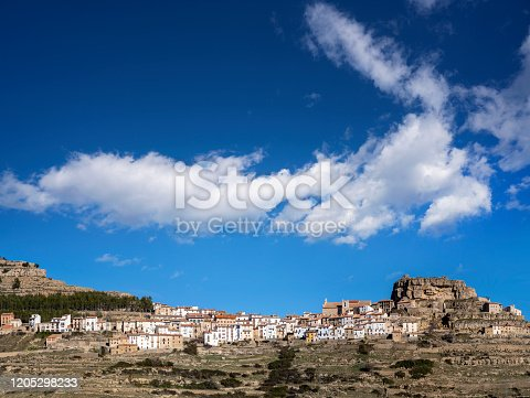 Ares del Maestre also Maestrat village skyline in Maestrazgo mountain of Castellon at Spain