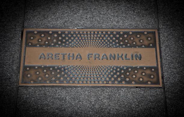 Aretha Franklin paving slab stock photo