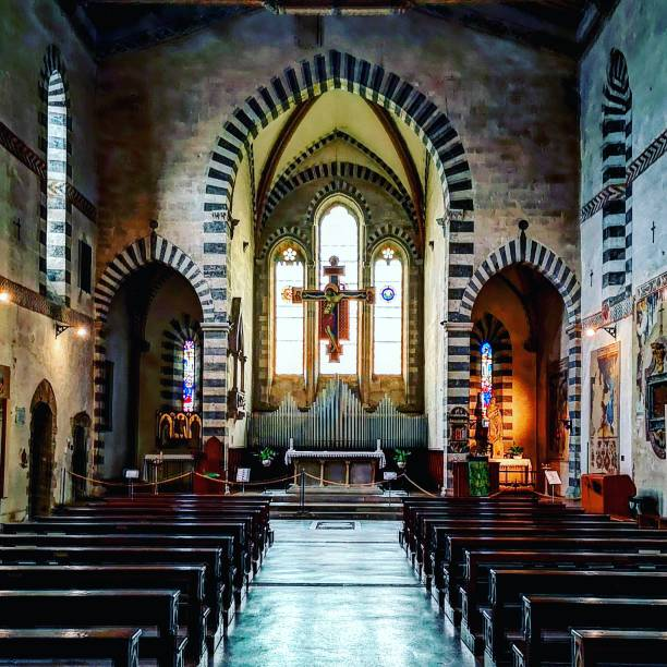 Arezzo Basilica San Domenico Basilica San Domenico interior in the background the Cimabue arezzo stock pictures, royalty-free photos & images