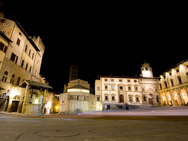 Arezzo by night , Piazza Grande  (Tuscany,Italy)  piazza grande stock pictures, royalty-free photos & images