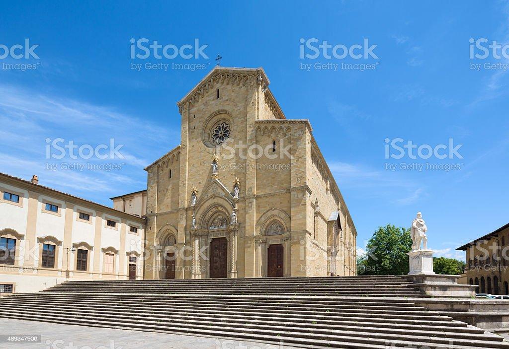 Arezzo Cattedrale facciata, Toscana, Italia - foto stock