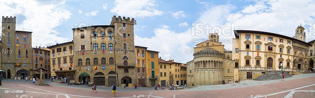 Arezzo Piazza Grande panoramic - foto stock