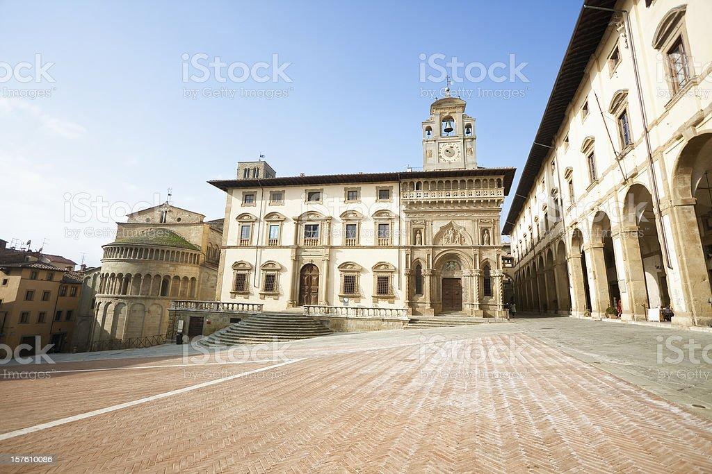 Arezzo, Piazza Grande (Toscana, Italia - foto stock