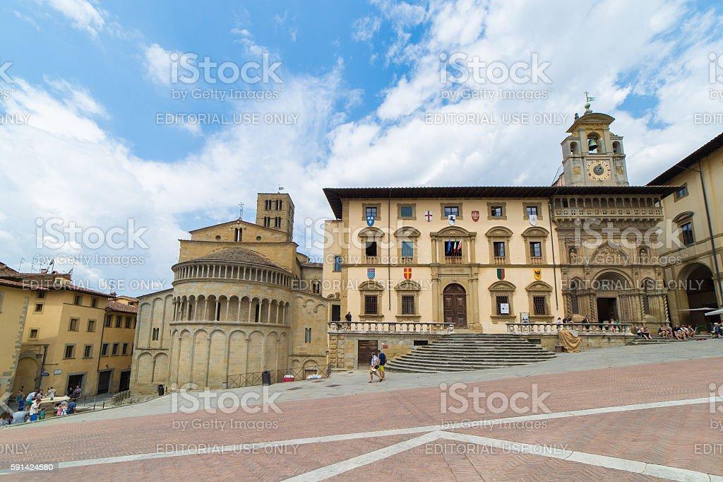 Arezzo Piazza Grande stock photo