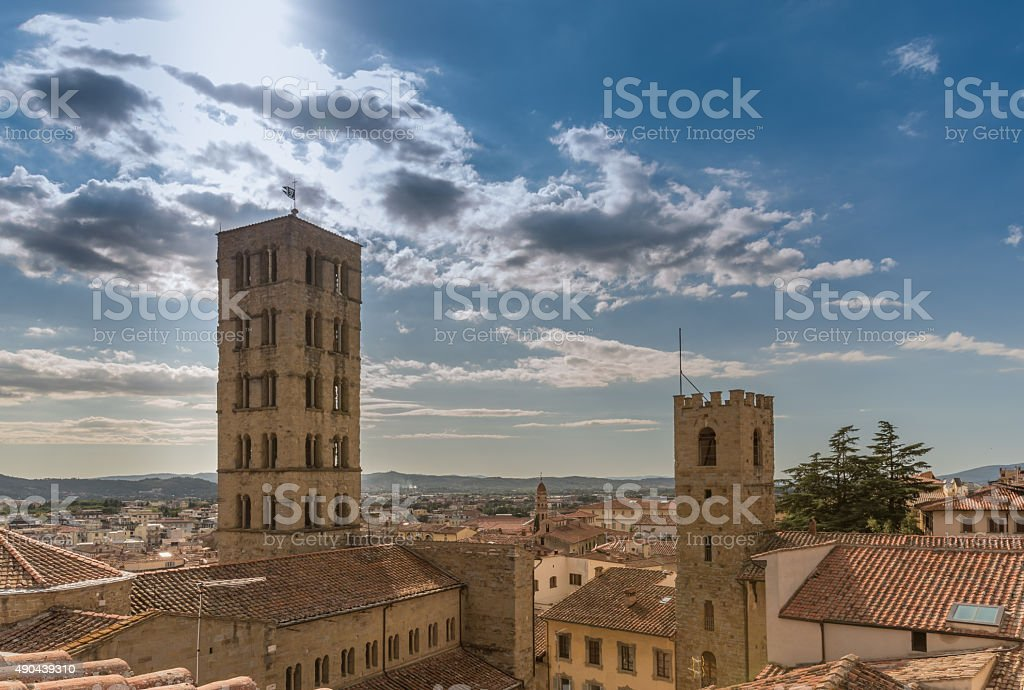 Arezzo view from stock photo