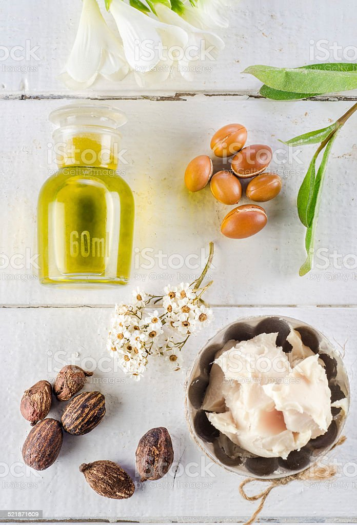 Argan and shea nut stock photo