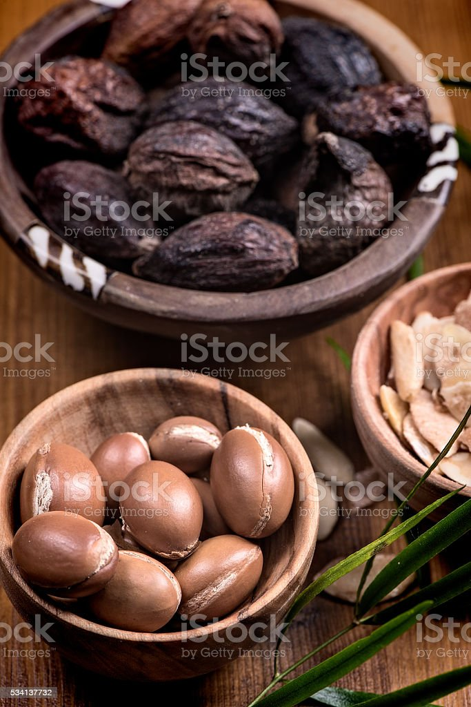 Argan fruit and oil composition stock photo
