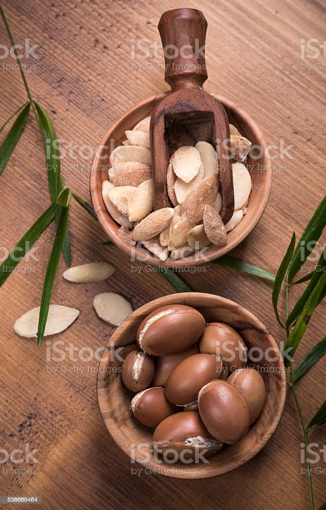 Argan fruit composition stock photo