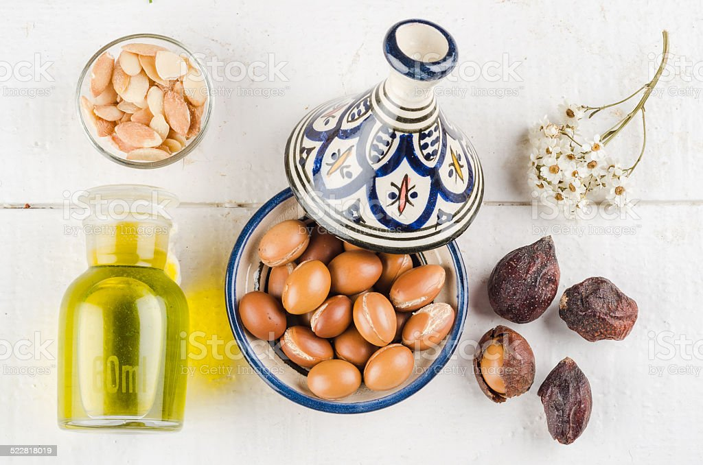 Argan fruit in a moroccan tajine stock photo