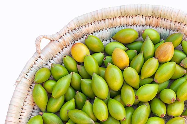 Argan nuts in basket. stock photo