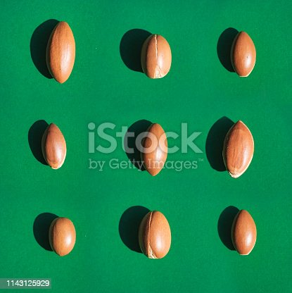 istock Argan nuts laid out on green background. Natural lighting in direct sunlight. 1143125929