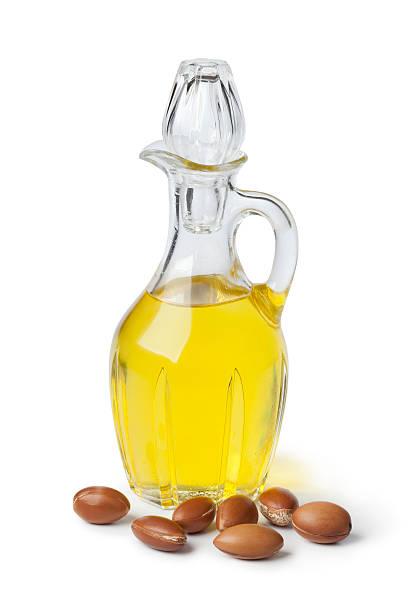 Argan oil and nuts stok fotoğrafı