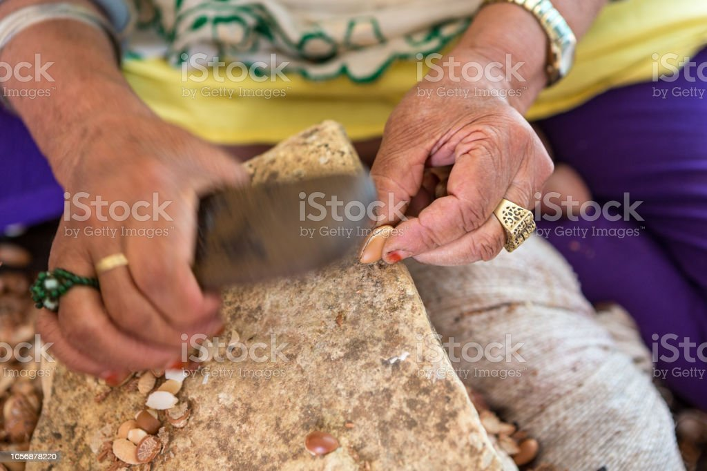 Argan oil is a product widely exported by Morocco to be used in the cosmetics industry. stock photo
