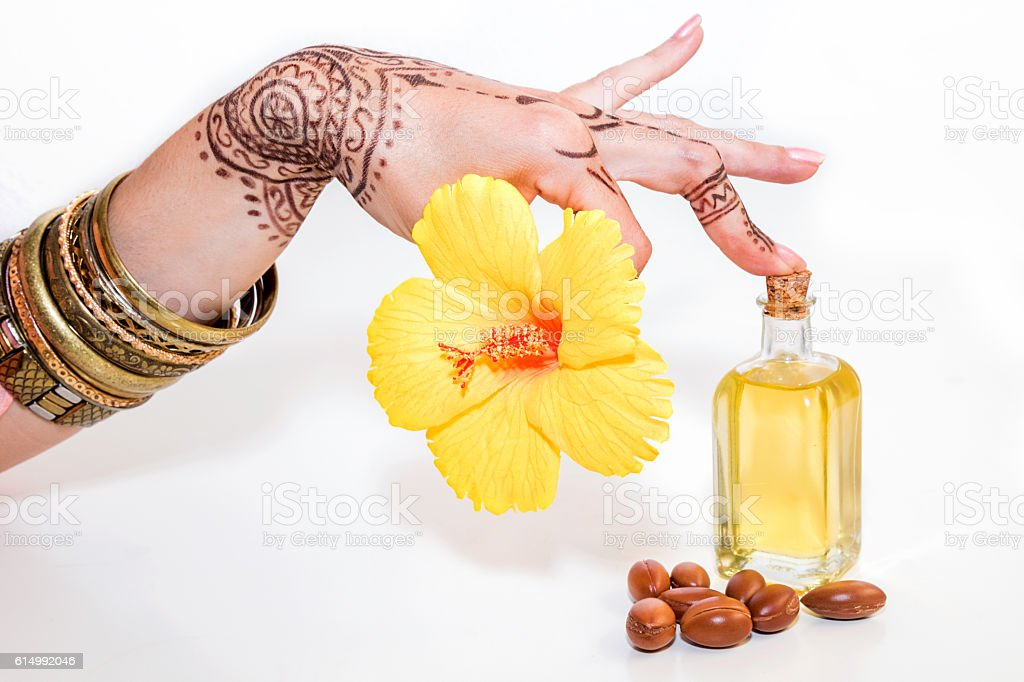 Argan oil, luxury treatment for skin and hair stock photo