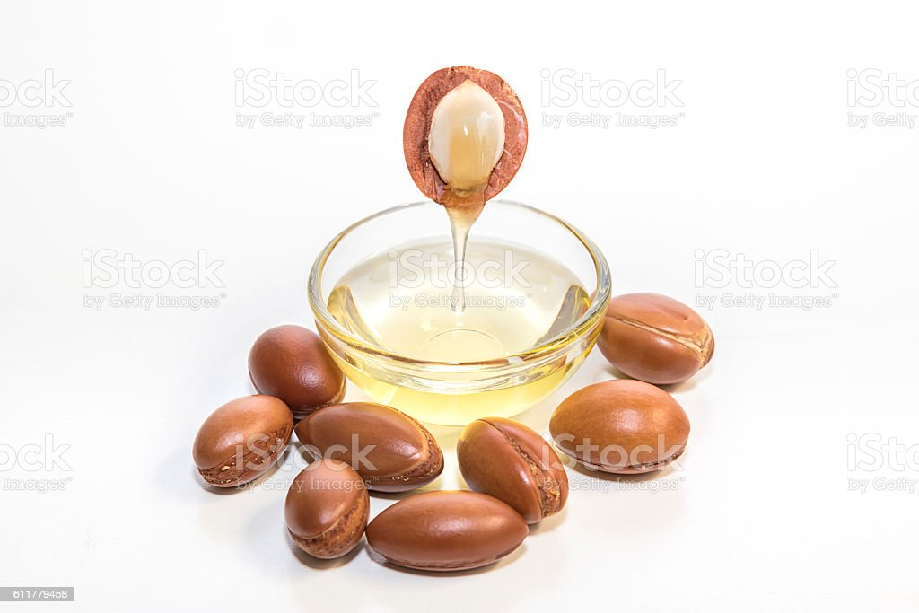 Argan oil. Much appreciated in cosmetics. stock photo