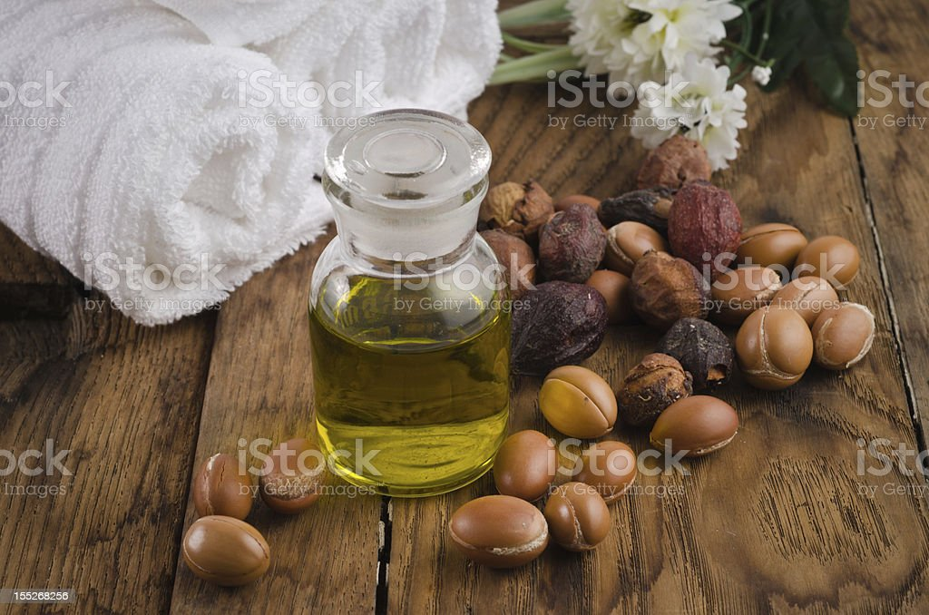 Argan oil with fruits stock photo