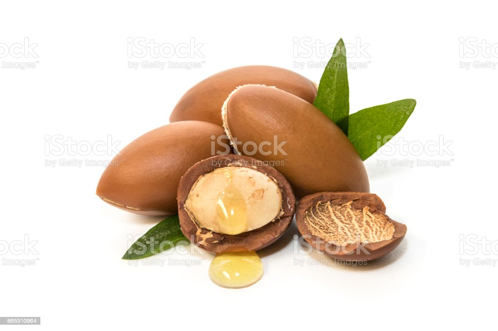 Argan seeds, for the production of oil. stock photo