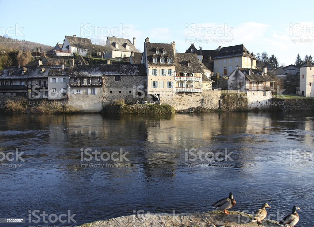 argentat river front houses stock photo