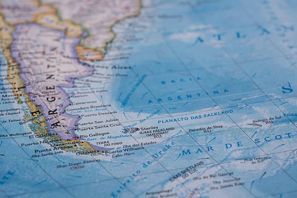 argentina e península antártica - mapa mundi imagens e fotografias de stock