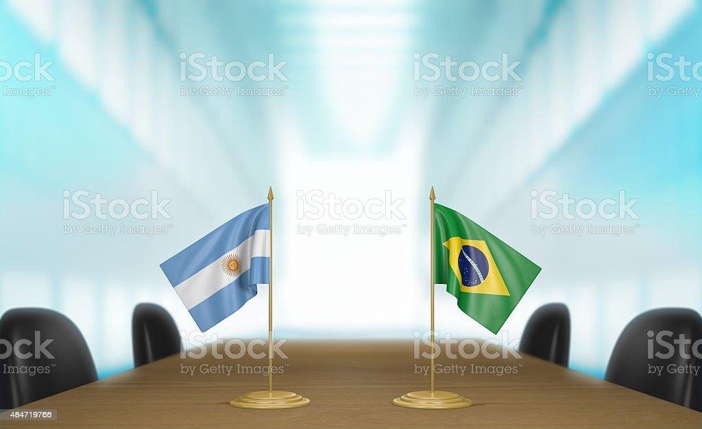 Argentina, Brasil y el comercio y las relaciones de muchas conversaciones Renderizado 3D - foto de stock