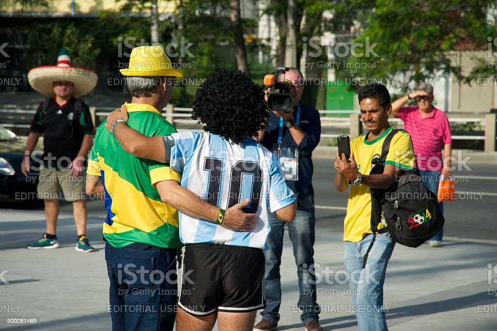 Argentina and Brazil together for the 2014 FIFA World Cup royalty-free stock photo