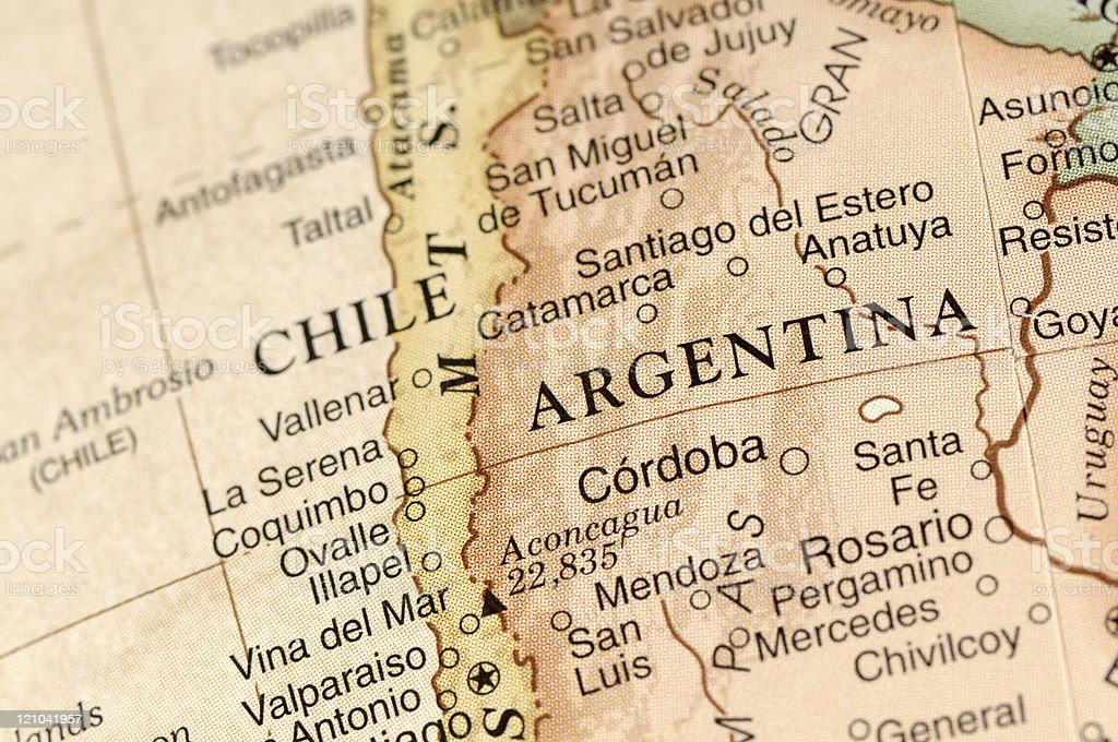 Argentina and Chile stock photo