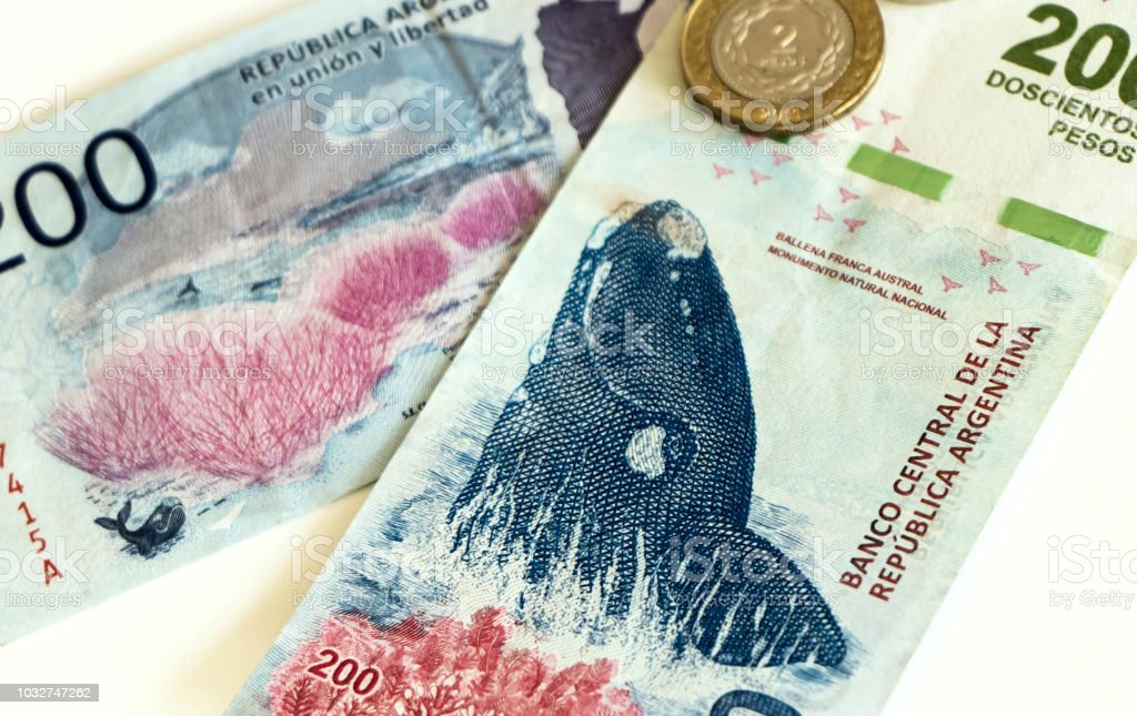 Argentina banknotes of 200 pesos stock photo