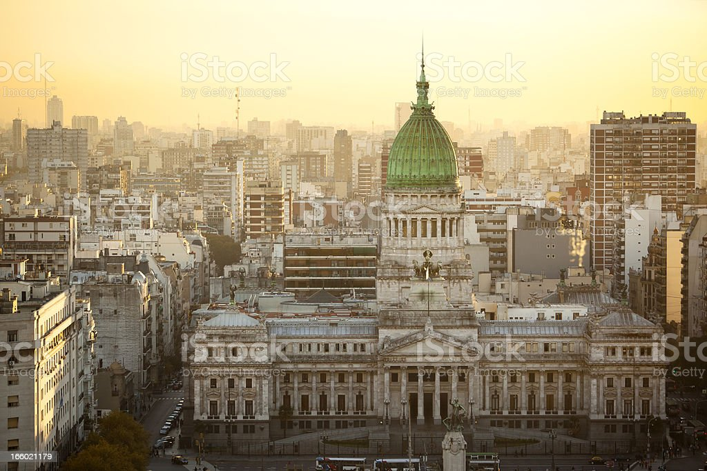 Argentina Buenos Aires aerial view of Palacio Del Congreso stock photo