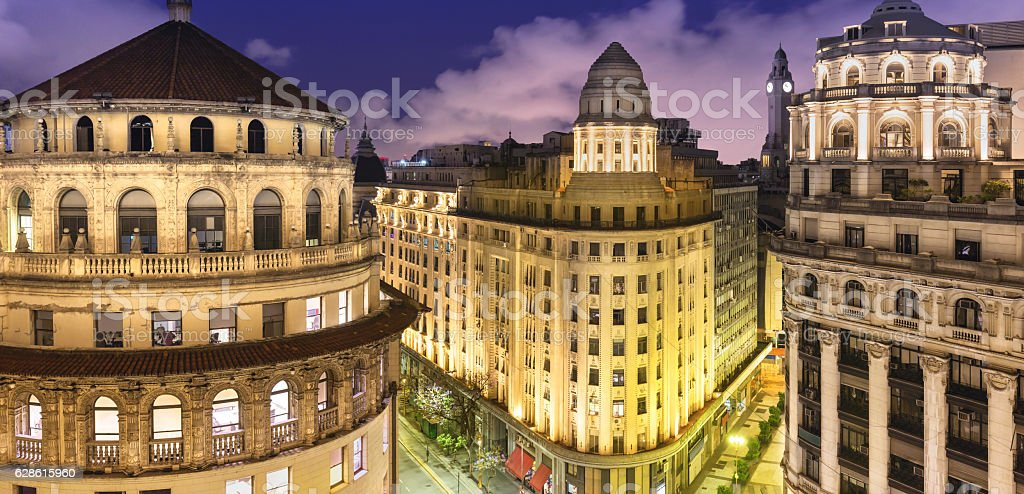 Argentina Buenos Aires building dome at night stock photo