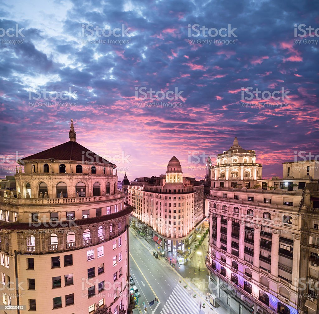 Argentina Buenos Aires buildings downtown from above stock photo