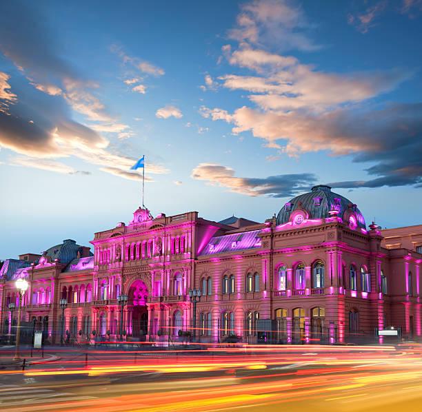 Argentina Buenos Aires Casa Rosada at night stock photo
