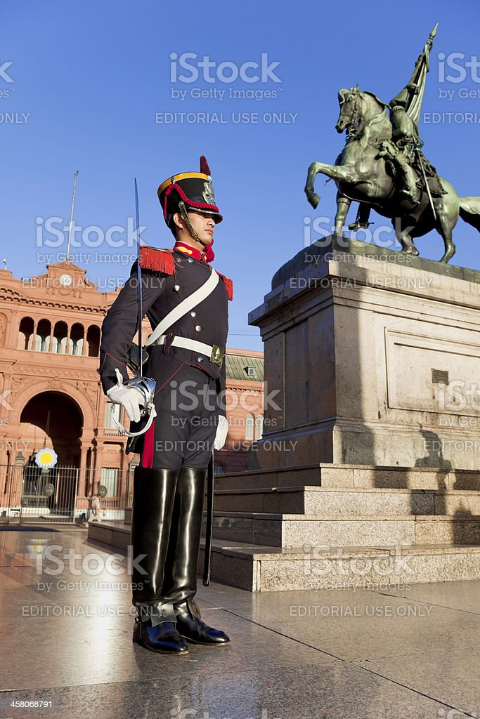 Argentina Buenos Aires Casa Rosada with soldier of honor guard stock photo