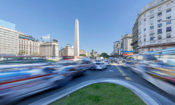 Argentina Buenos Aires center with obelisco at rush hour stock photo