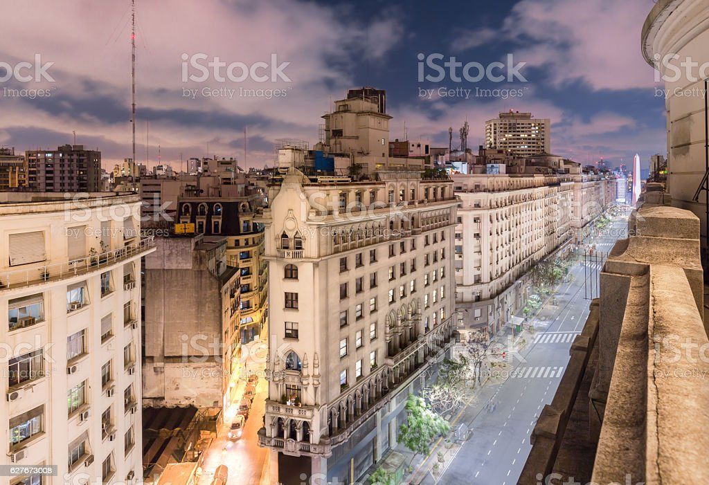 Argentina Buenos Aires city at night stock photo
