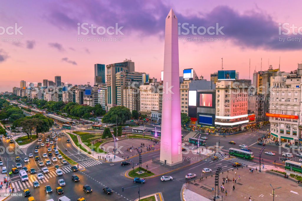 Argentina Buenos Aires dawn at center with rush hour stock photo