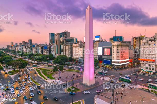 Plaza de la Republica in the centre of Buenos Aires with the Obelisco, one of the main symbols of the capital of Argentina at dawn with heavy traffic