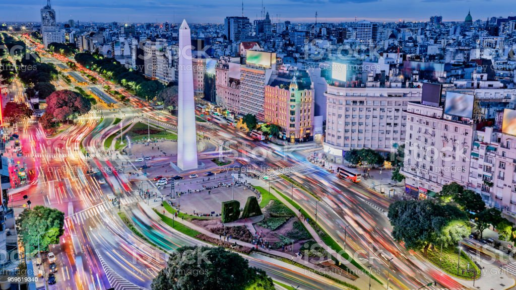 Argentina Buenos Aires downtown with traffic cars at night arround the Obelisco stock photo