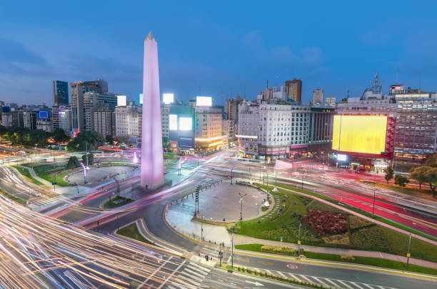 Argentina Buenos Aires rush hour center with obelisco at night stock photo